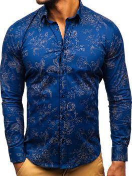 Koszula męska we wzory z długim rękawem granatowa Denley 200G67