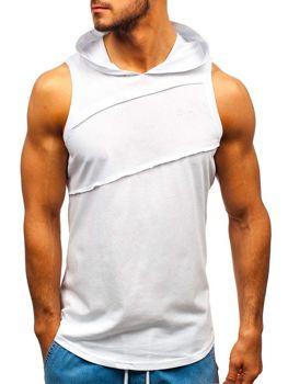 Koszulka tank top męska z kapturem biała Bolf 1266