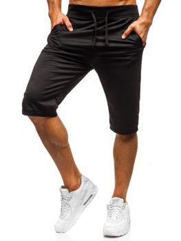 Krótkie spodenki dresowe męskie czarne Denley DK03