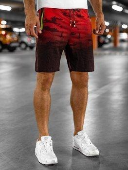 Krótkie spodenki dresowe męskie czerwone Denley KK213