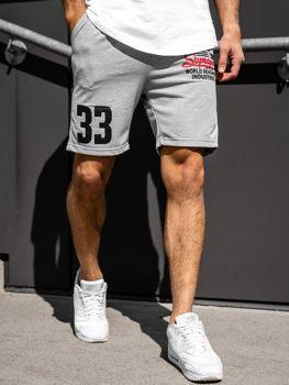 Krótkie spodenki dresowe męskie szare Denley EX06