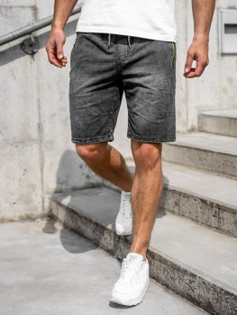 Krótkie spodenki jeansowe męskie czarne Denley 5784
