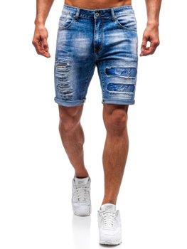 Krótkie spodenki jeansowe męskie niebieskie Denley T577