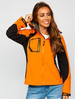 Kurtka damska przejściowa softshell pomarańczowa Denley 9055