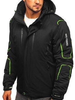 Kurtka męska zimowa narciarska czarno-zielona  Denley A5625