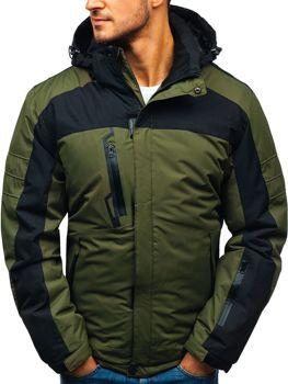 203b81f614381 Kurtka męska zimowa narciarska zielona Denley HZ8112