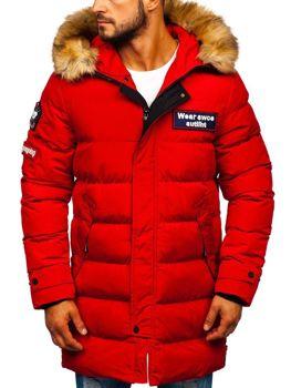 Kurtka męska zimowa parka czerwona Denley 5970
