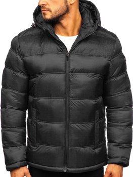 Kurtka męska zimowa sportowa pikowana czarna Denley AB72