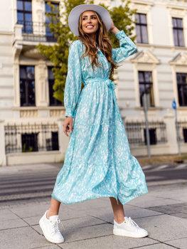 Miętowa sukienka damska Denley A468