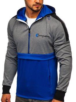 Niebieska bluza męska z kapturem i nadrukiem Denley DD20139