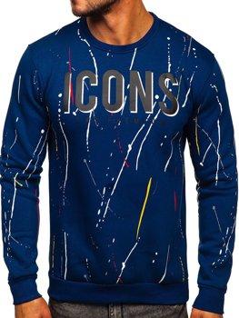 Niebieska z nadrukiem bluza męska bez kaptura Denley 146058