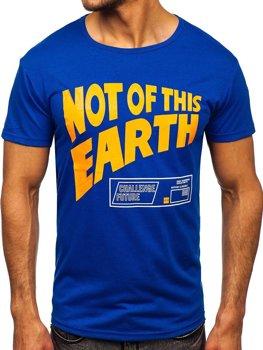 Niebieski T-shirt męski z nadrukiem Denley KS2336