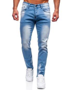 Niebieskie spodnie jeansowe męskie regular fit Denley R915