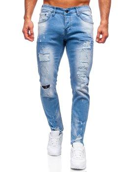 Niebieskie spodnie jeansowe męskie regular fit Denley R916