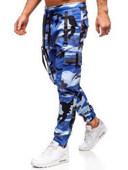 Niebieskie spodnie joggery bojówki męskie Denley 11105