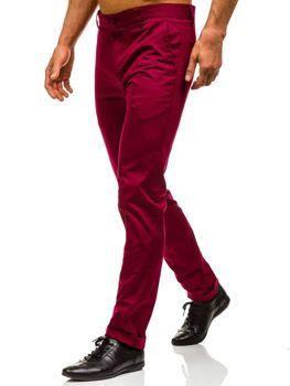 Spodnie chinosy męskie bordowe Denley 0204