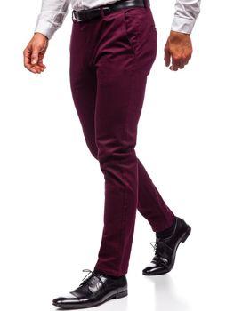 Spodnie chinosy męskie bordowe Denley 1120