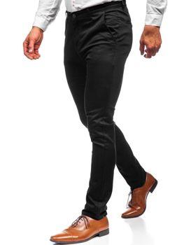 Spodnie chinosy męskie czarne Denley KA969
