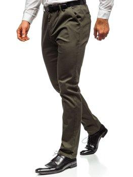 Spodnie chinosy męskie khaki Denley KA968