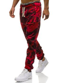 Spodnie dresowe joggery męskie moro-czerwone Denley 0367