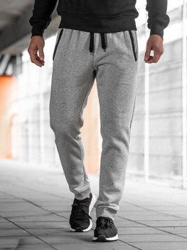 Spodnie dresowe joggery męskie szare Denley AK13-1