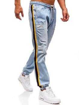 Spodnie jeansowe baggy męskie jasnoniebieskie Denley 2041