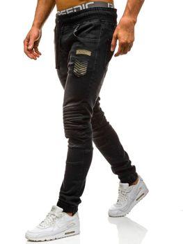 Spodnie jeansowe joggery męskie czarne Denley 1810