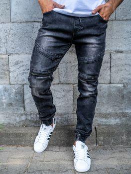 Spodnie jeansowe joggery męskie czarne Denley KA573