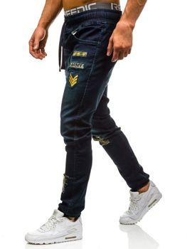 Spodnie jeansowe joggery męskie granatowe Denley 0806