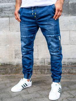 Spodnie jeansowe joggery męskie granatowe Denley KA752