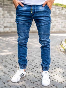 Spodnie jeansowe joggery męskie granatowe Denley KA755