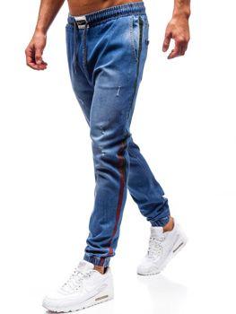 Spodnie jeansowe joggery męskie niebieskie Denley 2053