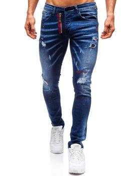 Spodnie jeansowe męskie granatowe Denley 9237