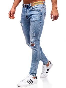 Spodnie jeansowe męskie skinny fit granatowe Denley KA1733-1