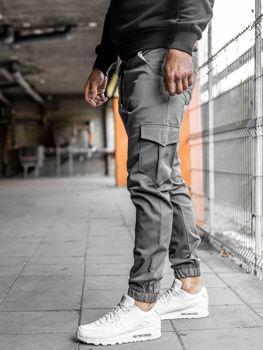 Spodnie joggery bojówki męskie szare Bolf  0404