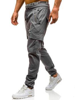 Spodnie joggery bojówki męskie szare Denley 0707