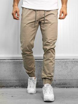 Spodnie joggery męskie ecru Denley KA951