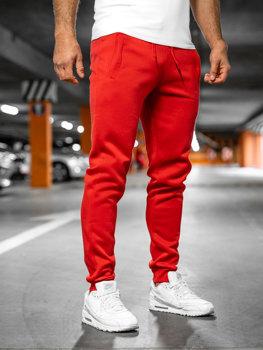 Spodnie męskie dresowe czerwone Denley XW01