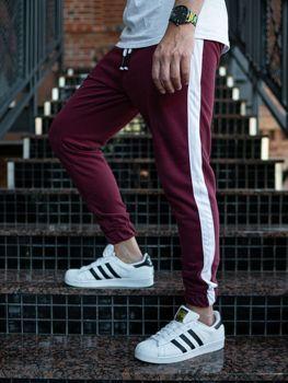 Spodnie męskie dresowe joggery bordowe Denley 11120