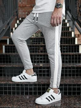 Spodnie męskie dresowe joggery szare Denley 11120