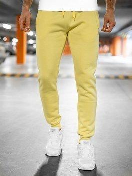 Spodnie męskie dresowe żółty-neon Denley XW01