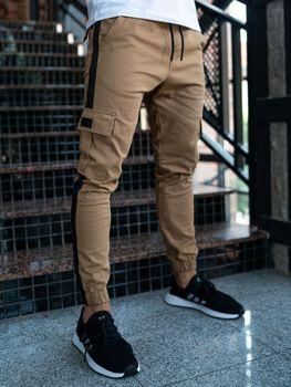 Spodnie męskie joggery bojówki camelowe Denley 11117