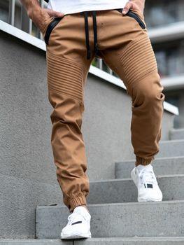 Spodnie męskie joggery camelowe Denley 0952-A