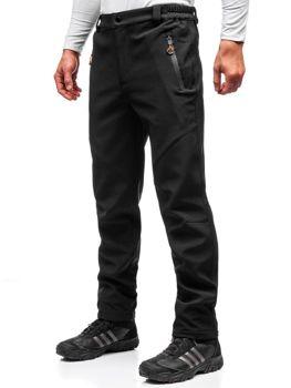 Spodnie męskie trekkingowe typu softshell czarno-pomarańczowe Denley 5454