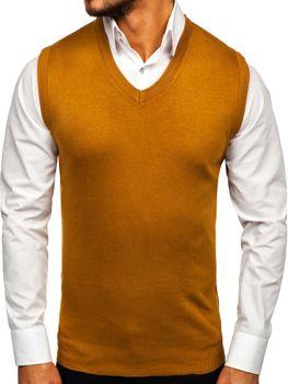 Sweter męski bez rękawów camelowy Denley H1939