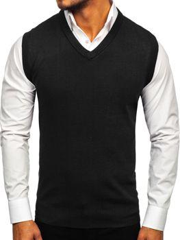 Sweter męski bez rękawów czarny Denley W01
