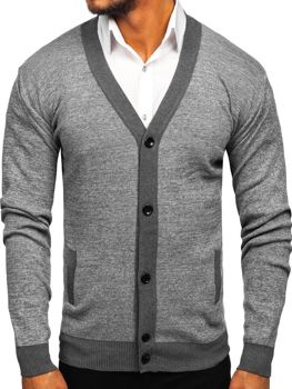 Sweter męski rozpinany szary Denley 8122