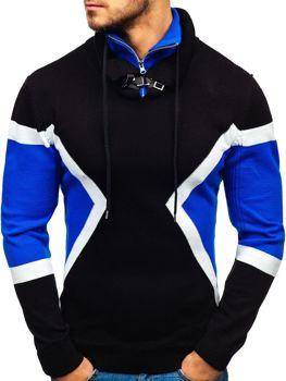 Sweter męski ze stójką czarno-niebieski Denley 1011