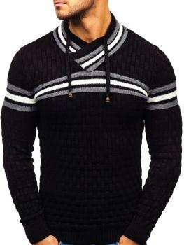 Sweter męski ze stójką czarny Denley 6006