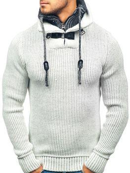Sweter męski ze stójką ecru Denley 20011